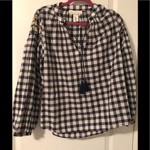 h&m gingham embroidered balloon sleeve blouse